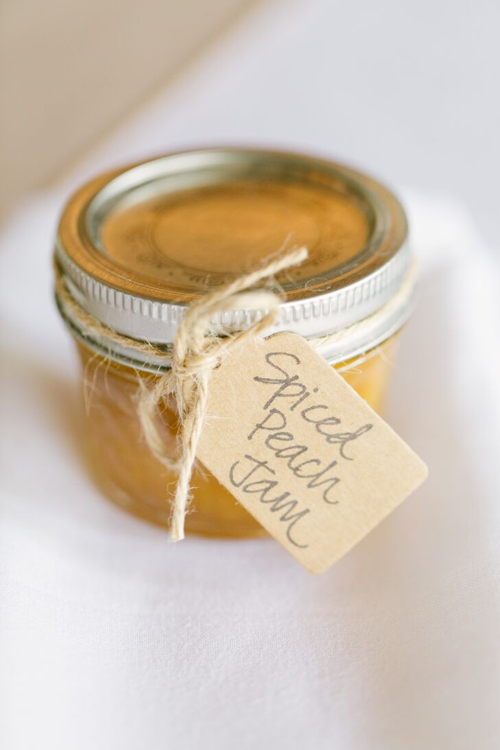 """My mother-in-law and I began making jams from scratch shortly after Thomas and I got engaged,"" Anna says. ""The favors included spiced peach, blackberry, strawberry, raspberry, pepper jelly and apple butter. We had so much fun with the whole process of making them, and we loved hearing feedback from the guests."""
