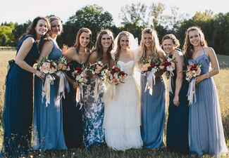 Shades of Blue and Coordinating Floral Print Mismatched Bridesmaid Dresses |<img class=