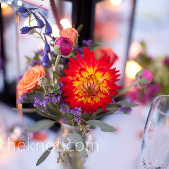 Flower and lantern centerpieces