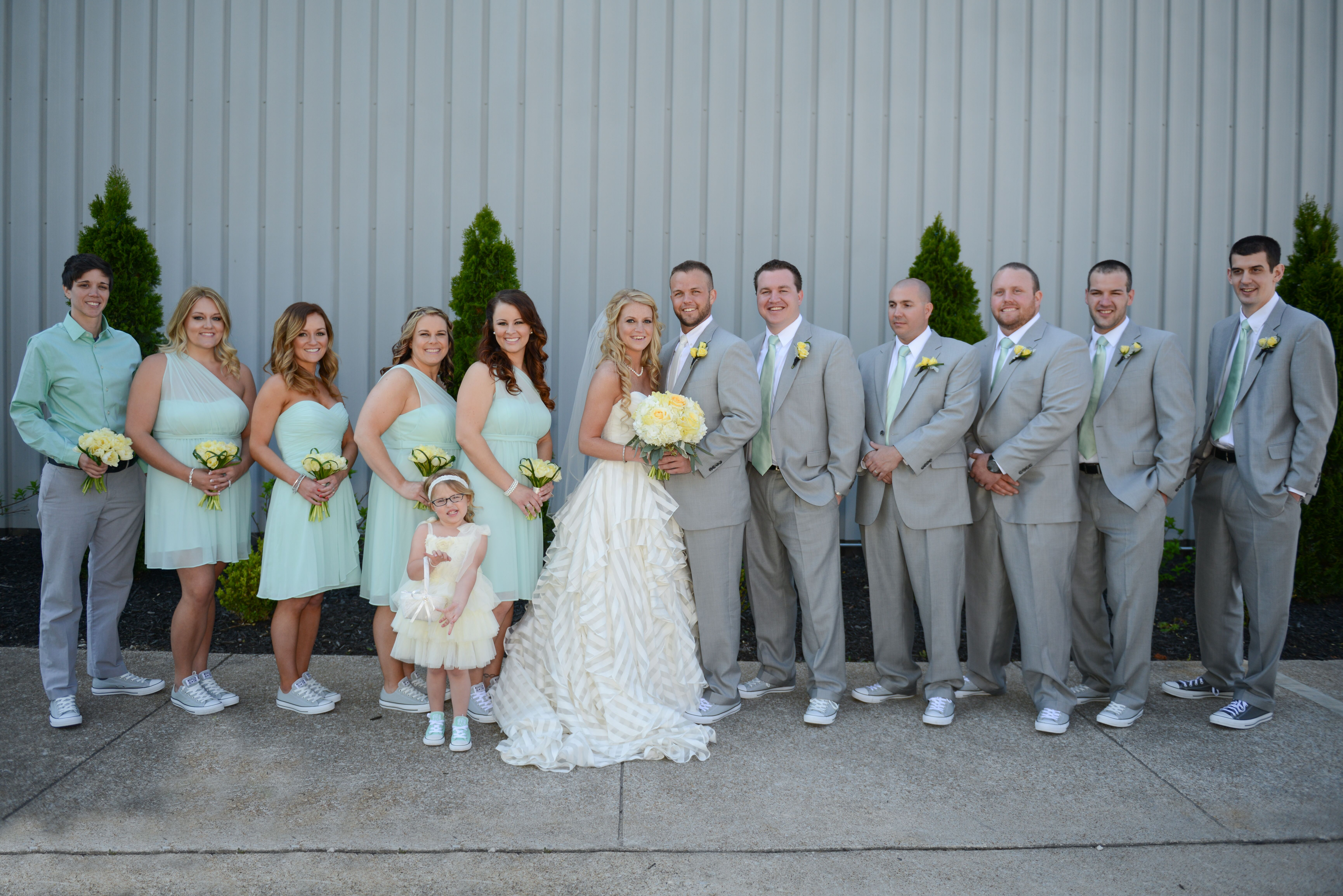 mint and gray wedding party with converse shoes