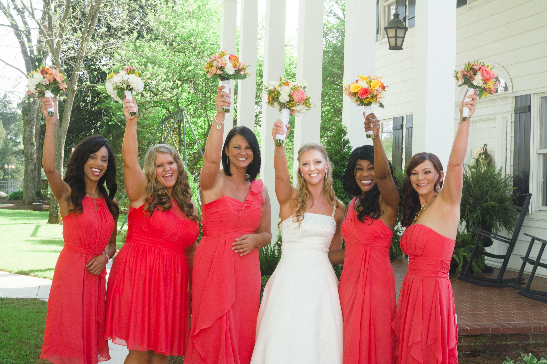 Knee length guava bridesmaid dresses ombrellifo Choice Image