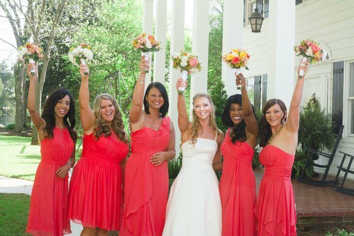 Knee-Length Guava Bridesmaid Dresses