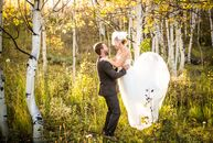 With their love of mountain biking and the outdoors, Dawn Wieker (31 and a teacher) and Bill Cooper's (29 and a design coordinator) fall mountain wedd