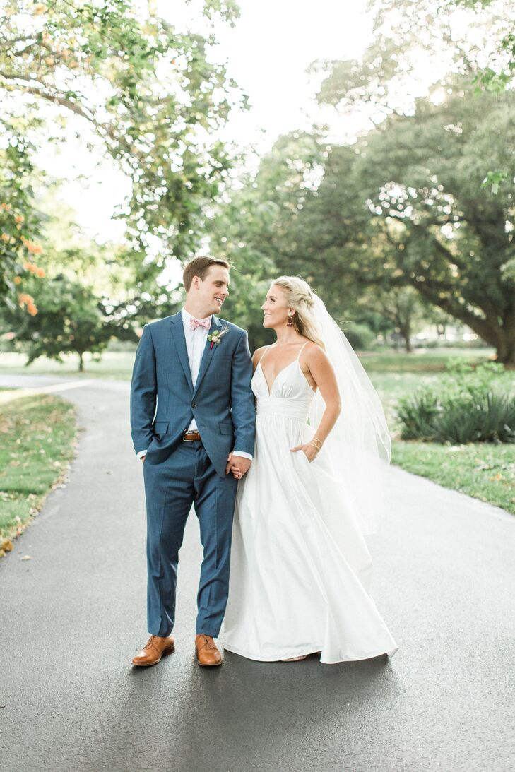 Navy J.Crew Suit and Summery Kate McDonald A-Line Gown