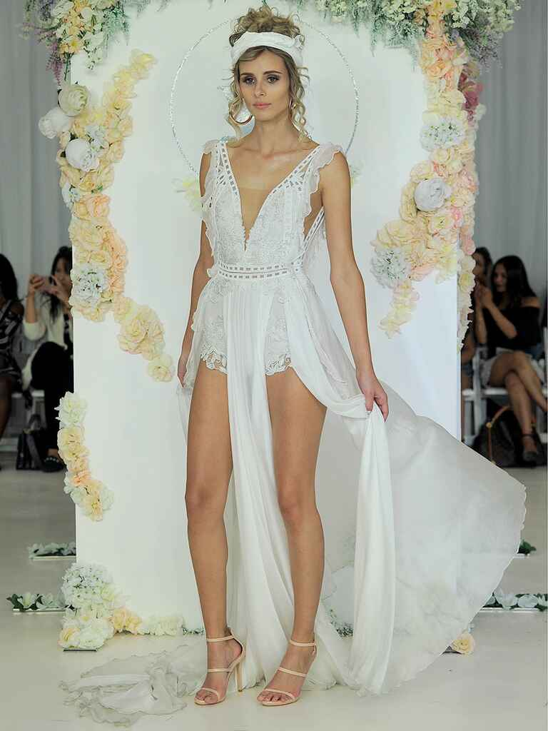 Julie Vino Fall 2018 bridal romper with plunging neckline