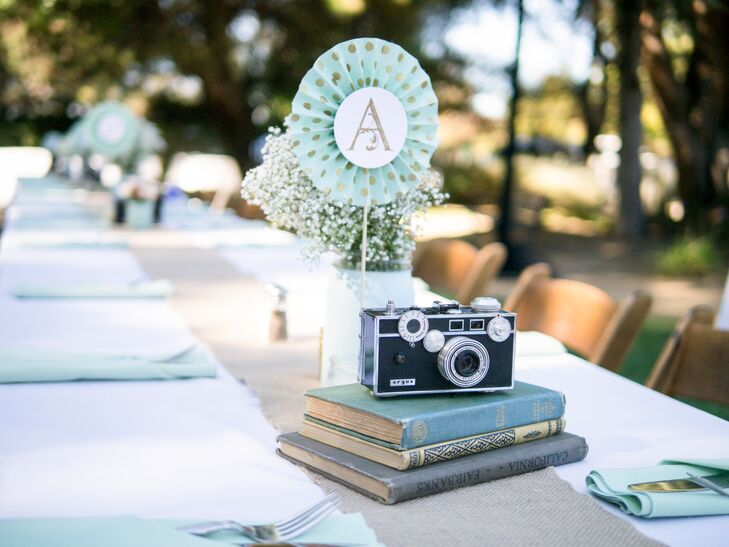 Table Marker, Old-Fashioned Camera on Books