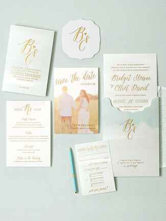Smock watercolor and poems wedding invitation suite