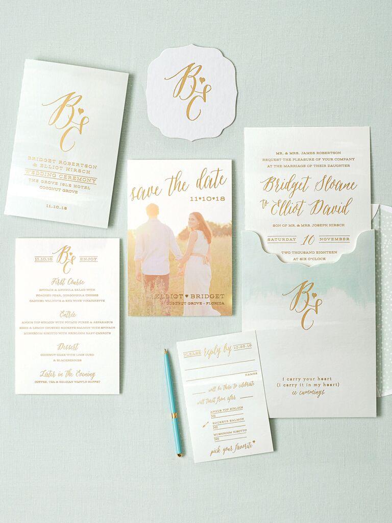 20 prettiest wedding invitations smock watercolor and poems wedding invitation suite monicamarmolfo Choice Image