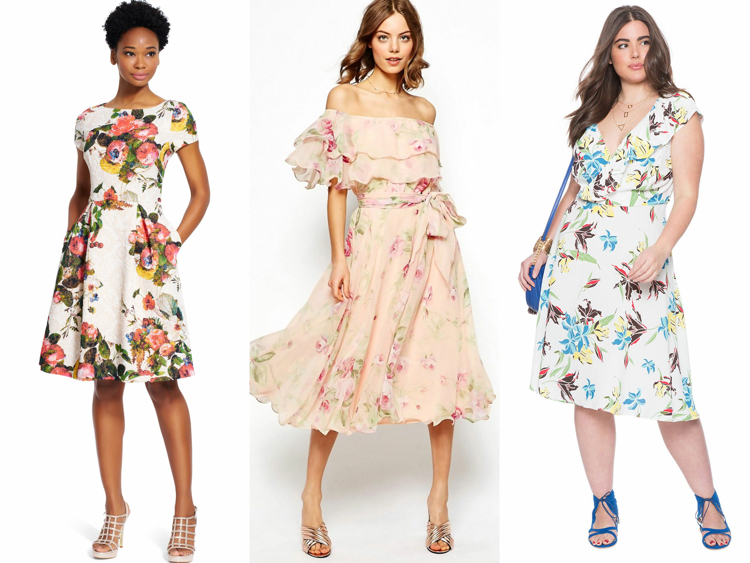 Guest attire floral dresses perfect for summer weddings for Spring wedding dress guest