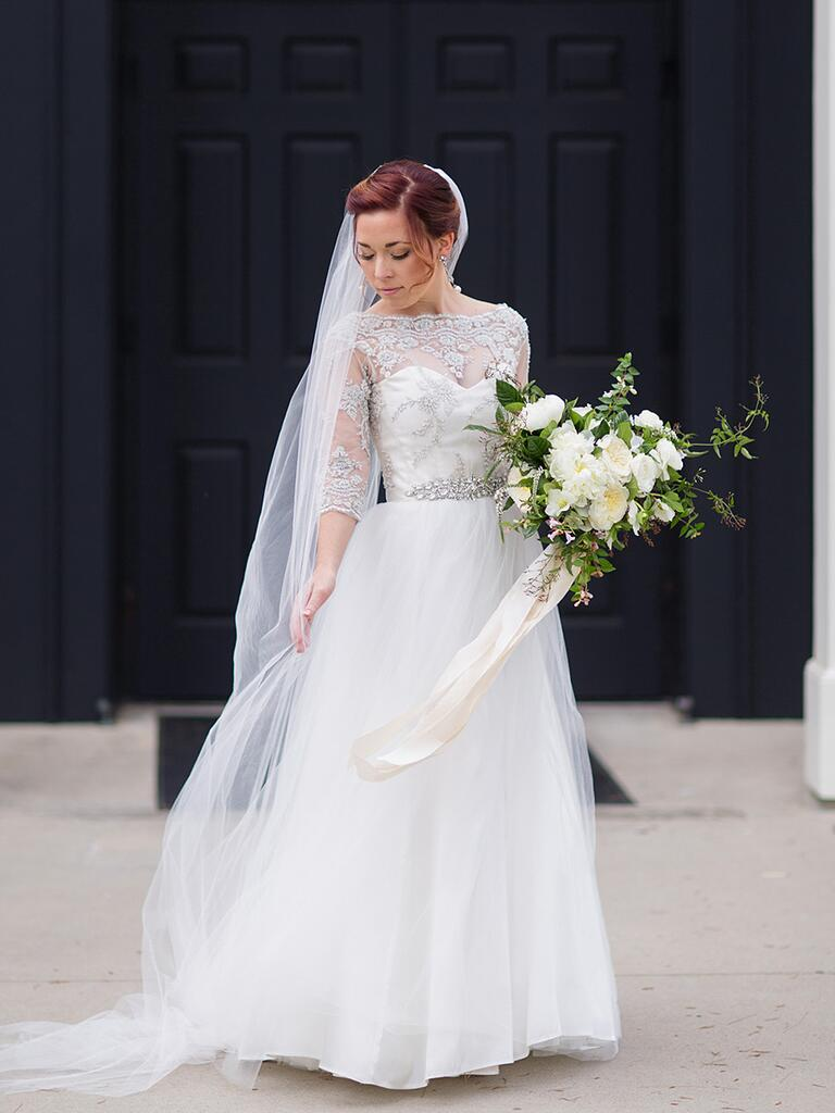 A-line wedding gown with grey lace pattern beading