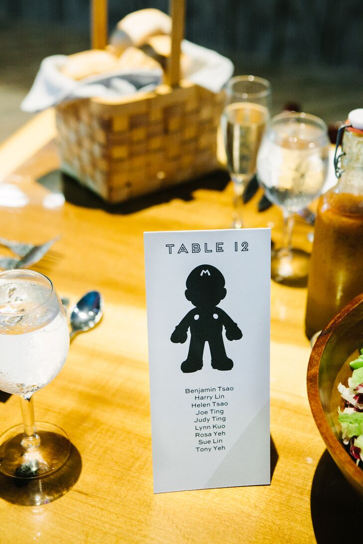 """We grew up playing video games and watching cartoons, and today we still enjoy video games,"" says Jenny. ""For the name cards, I opted to go with a poster instead - each table was assigned a number and character from our childhood with names listed under each one."""