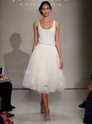 Jenny Yoo Fall 2016 wedding dress with tank top with beading detail and tulle tea length skirt with lace flowers detail