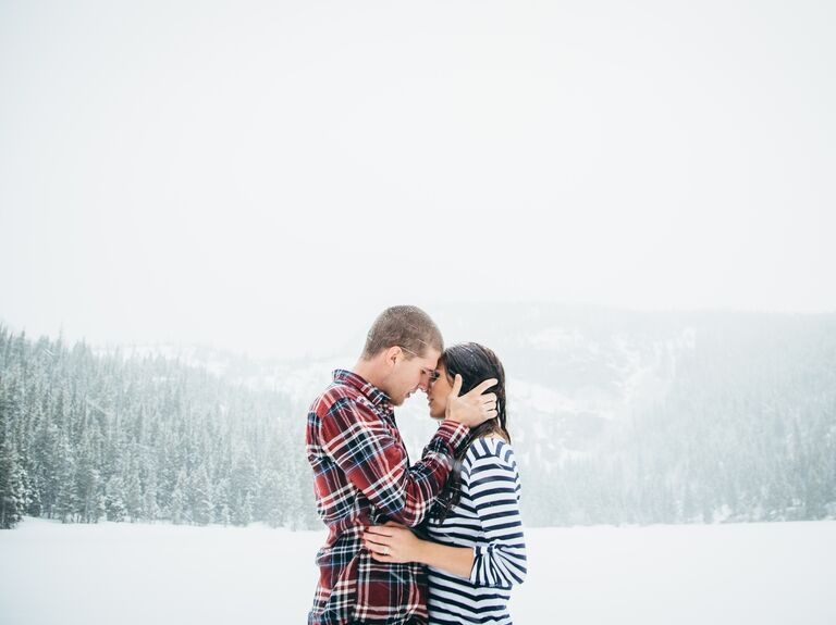 Couple's honeymoon in the snow