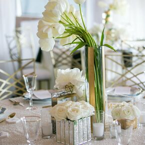 Modern White And Silver Centerpieces