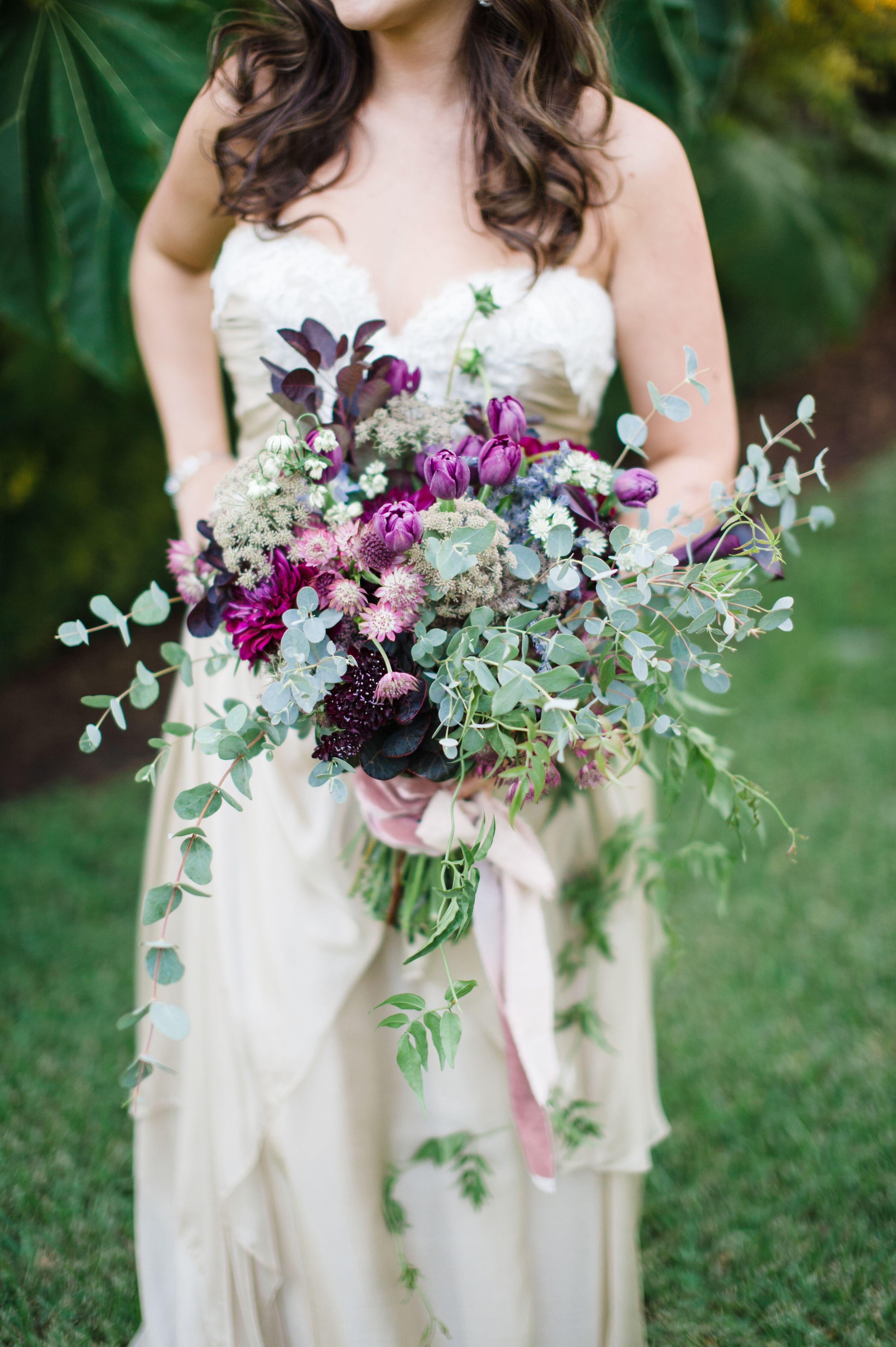 Asymmetrical Hand Tied Purple Wildflower Bouquet
