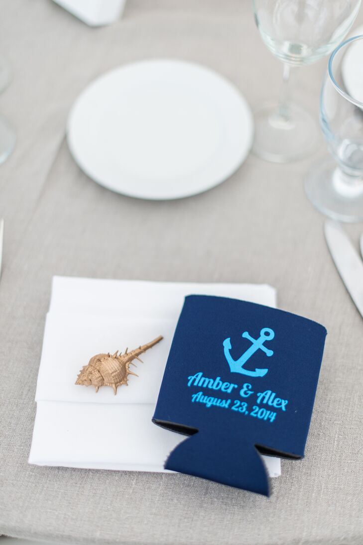 Blue Nautical Koozie Wedding Favor