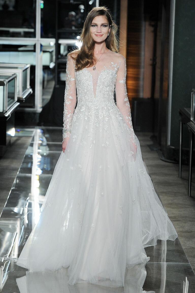 Reem Acra Spring 2018 sheer plunging neckline A-line wedding dress