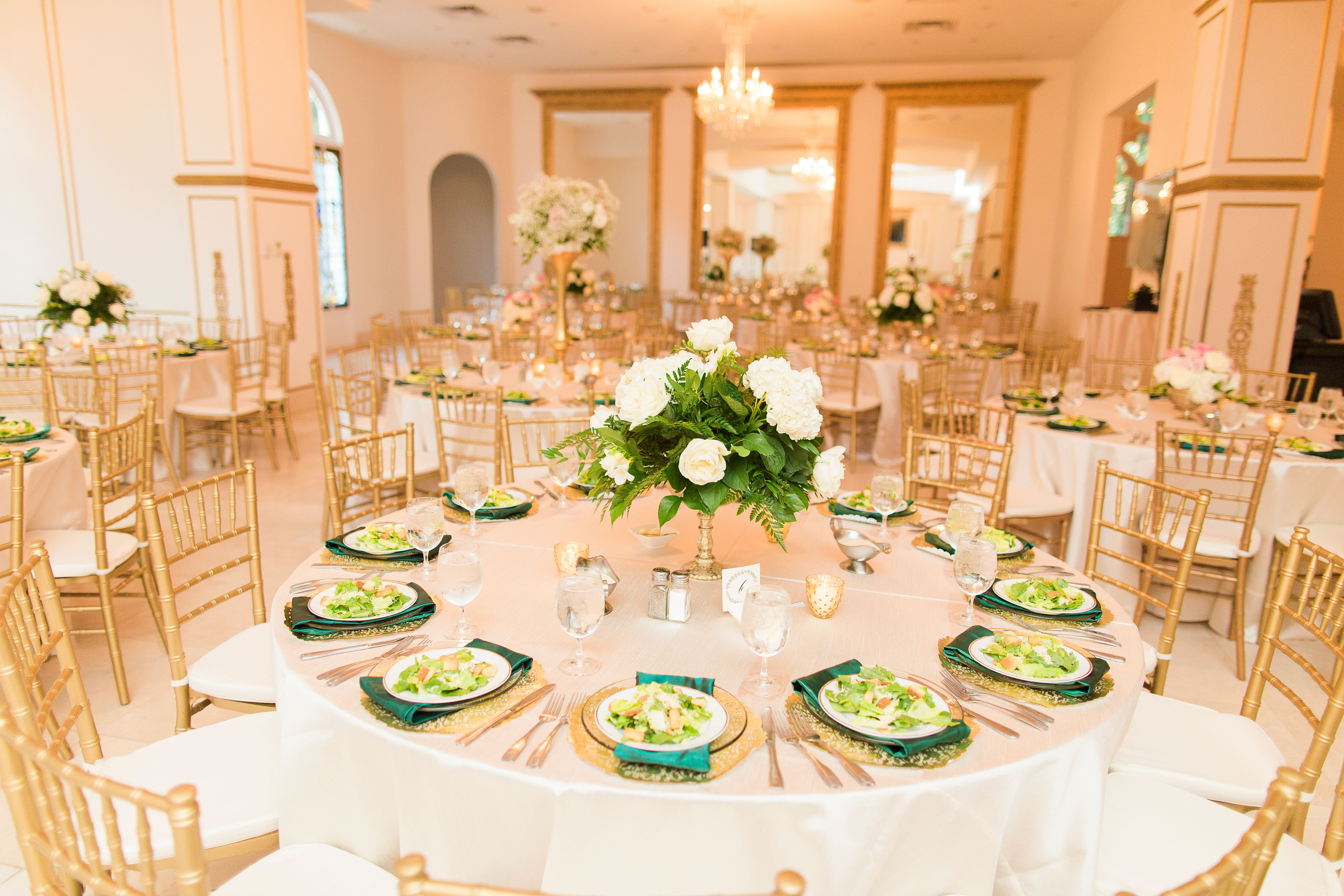 Gold And White Reception Decor With Pops Of Emerald Green