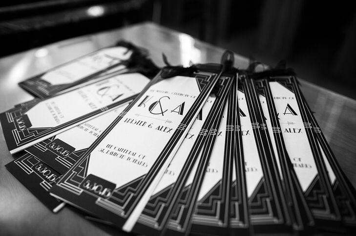 art deco inspired black and white wedding programs