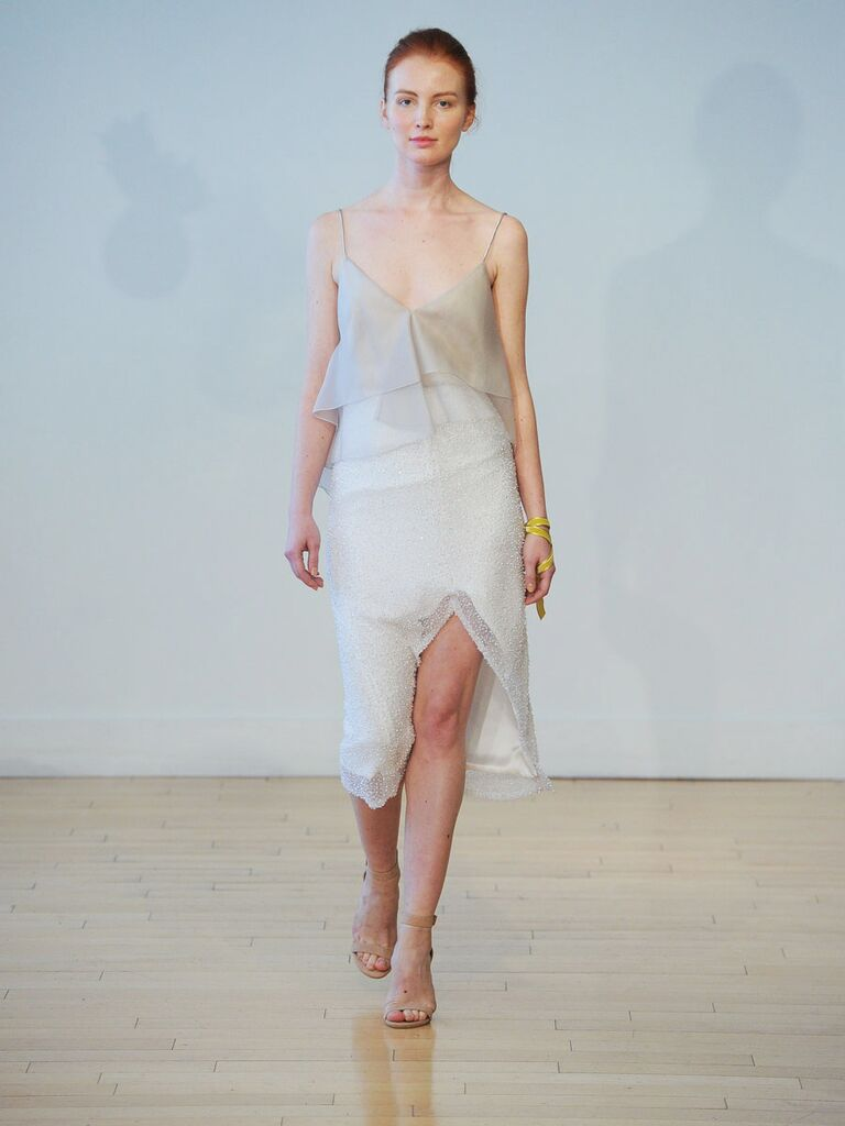 Carol Hannah Fall 2017 Nymphea Wedding Dress With Silk Organza Flounce Top Low Back In