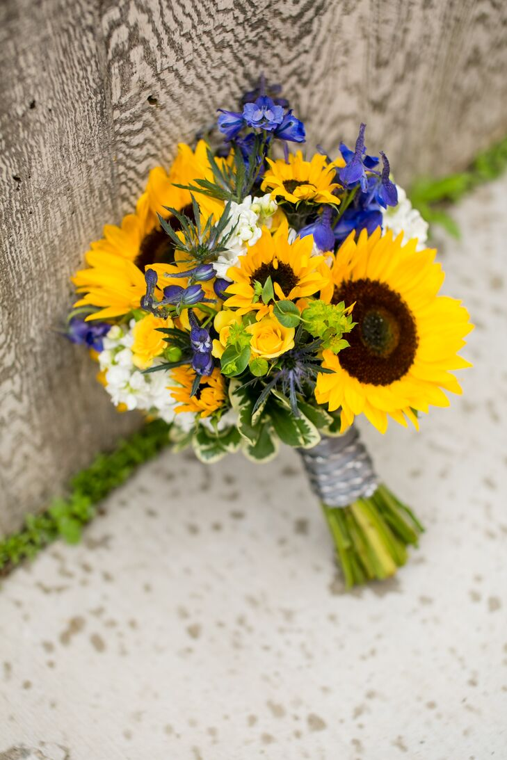 Bouquet With Sunflowers Irises And Stock Flowers