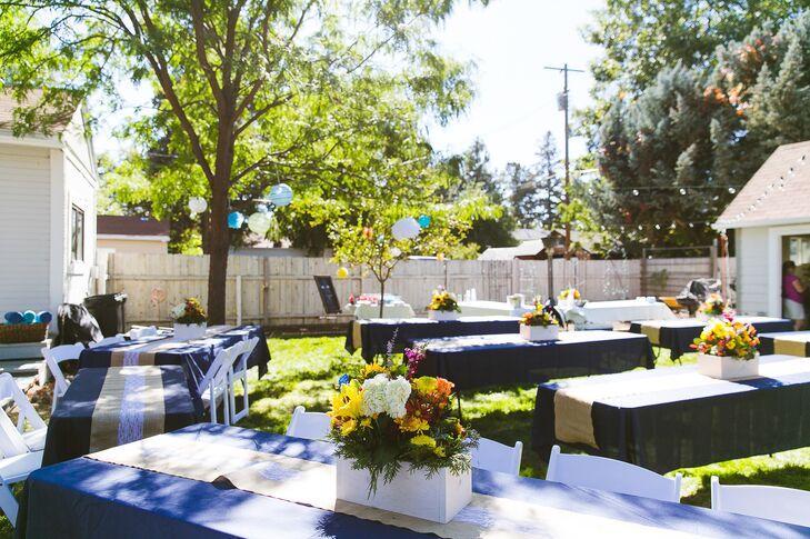 Shabby Chic Navy And Burlap Backyard Wedding Reception
