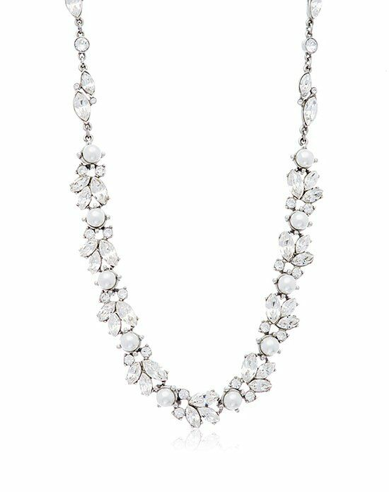 Thomas Laine Ben-Amun Silver Floral Crystal and Pearl Necklace Wedding Jewelry photo
