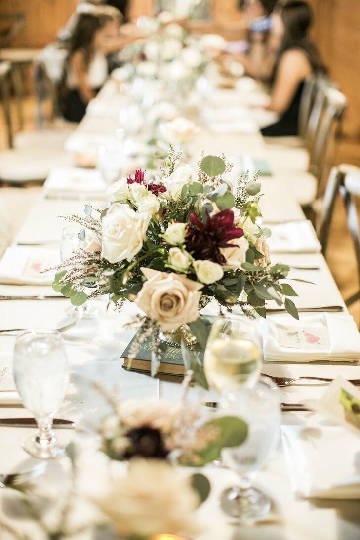 Farm Tables With White And Purple Flowers