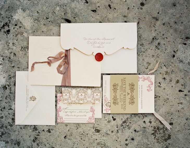 The design concept of the invitations remained true to the elegant feel of our wedding.The traditional ecru color with thick paper stock and letterpress text and scroll work spoke to us, Jessica says.