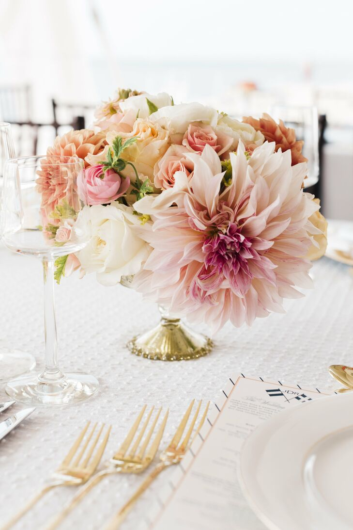 Peach And Pink Floral Centerpieces