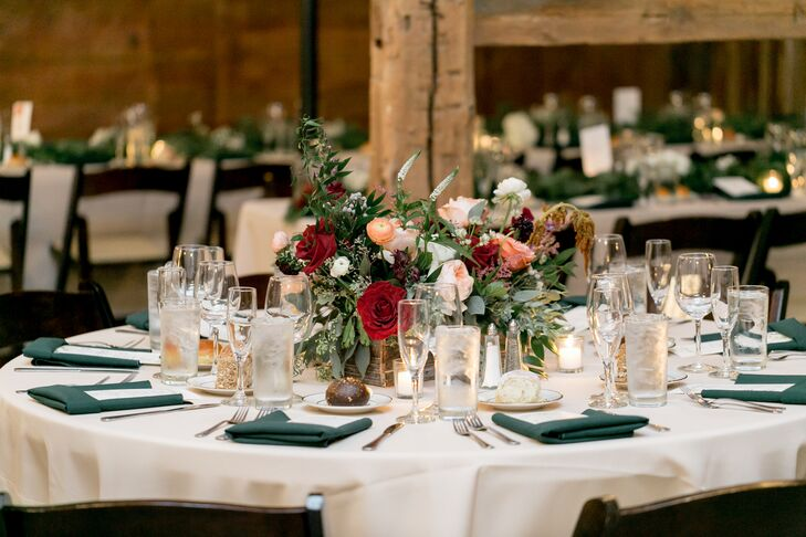 Tables with White and Teal Linens