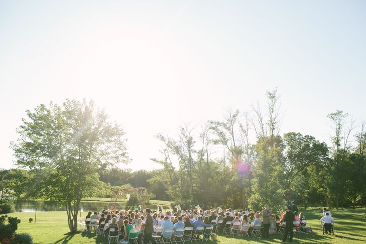 "For their wedding, the couple planned a fun, backyard affair at Carter's family home. ""We couldn't see ourselves indoors and what's better than keeping it in the family?"" says Lauren."