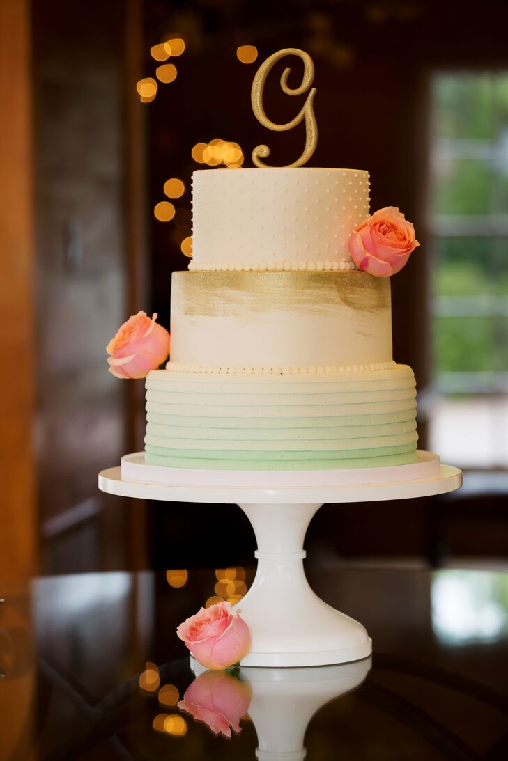 Mint Ombre and Gold Wedding Cake