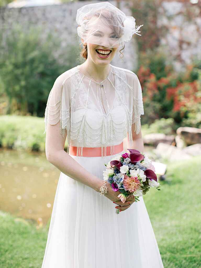 Vintage-inspired bridal look and BHLDN wedding gown