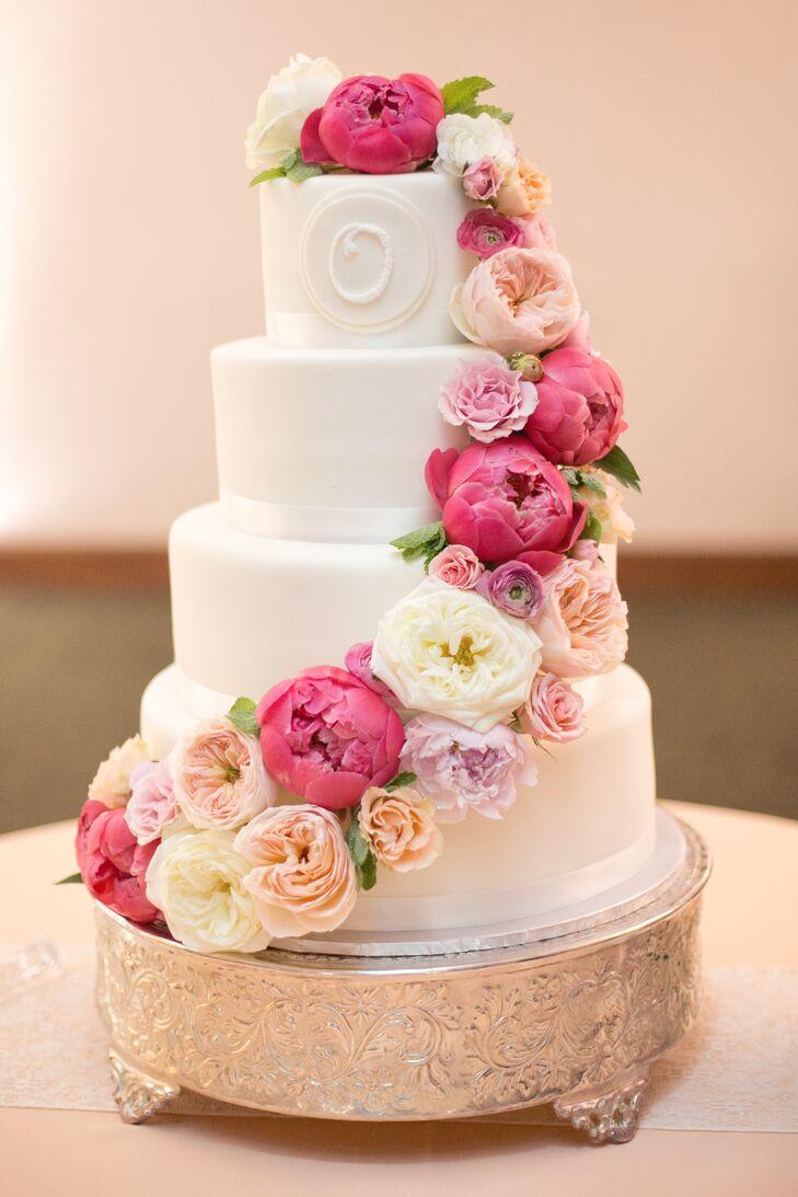 Cascading Ranunculus And Peony Wedding Cake