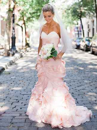 Strapless blush pink wedding gown by Leanne Marshall
