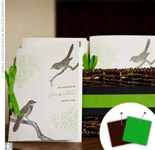 Green and brown wedding programs