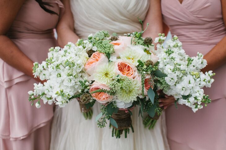 Peach David Austin Rose Bridal Bouquet and Lisianthus Bridesmaids Bouquets