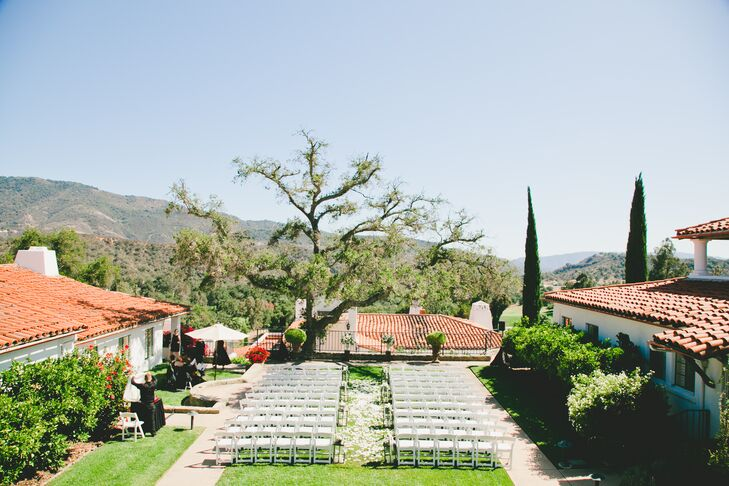 The ceremony was held in the Hacienda courtyard of the Ojai Valley Inn & Spa in Ojai, California.