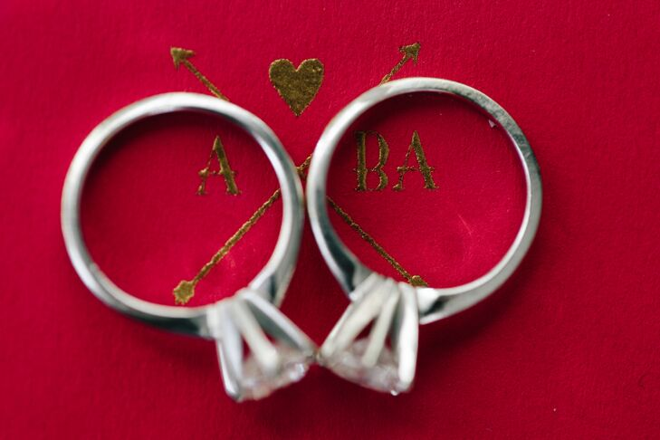 "After Allison proposed to Beth Anne with a white gold engagement ring, Beth Anne returned the favor two months later. ""Allison proposed at the finish line of the New York City marathon,"" Beth Anne says. ""A few weeks later, I took my new ring to Rifka at Malidani in New York City to create an identical one."""