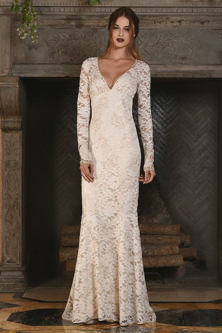 Claire pettibone fall 2017 collection bridal fashion week photos claire pettibone off white fit and flare lace wedding dress for fall 2017 junglespirit Images