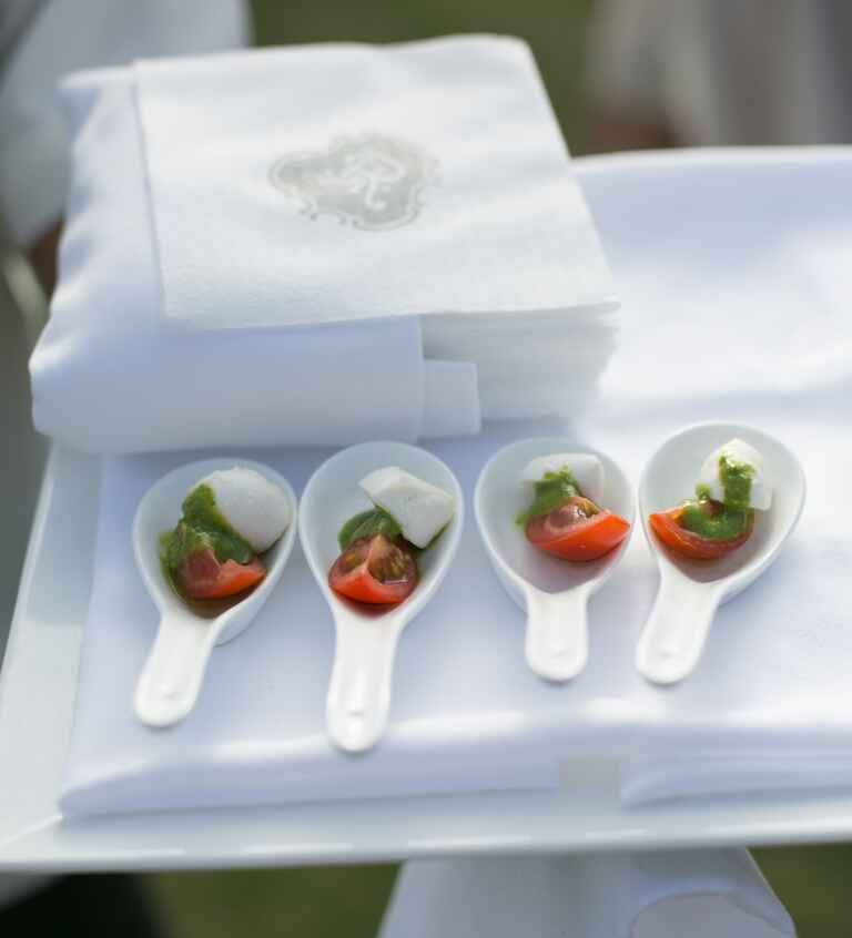 Tomato and mozzarella passed appetizers