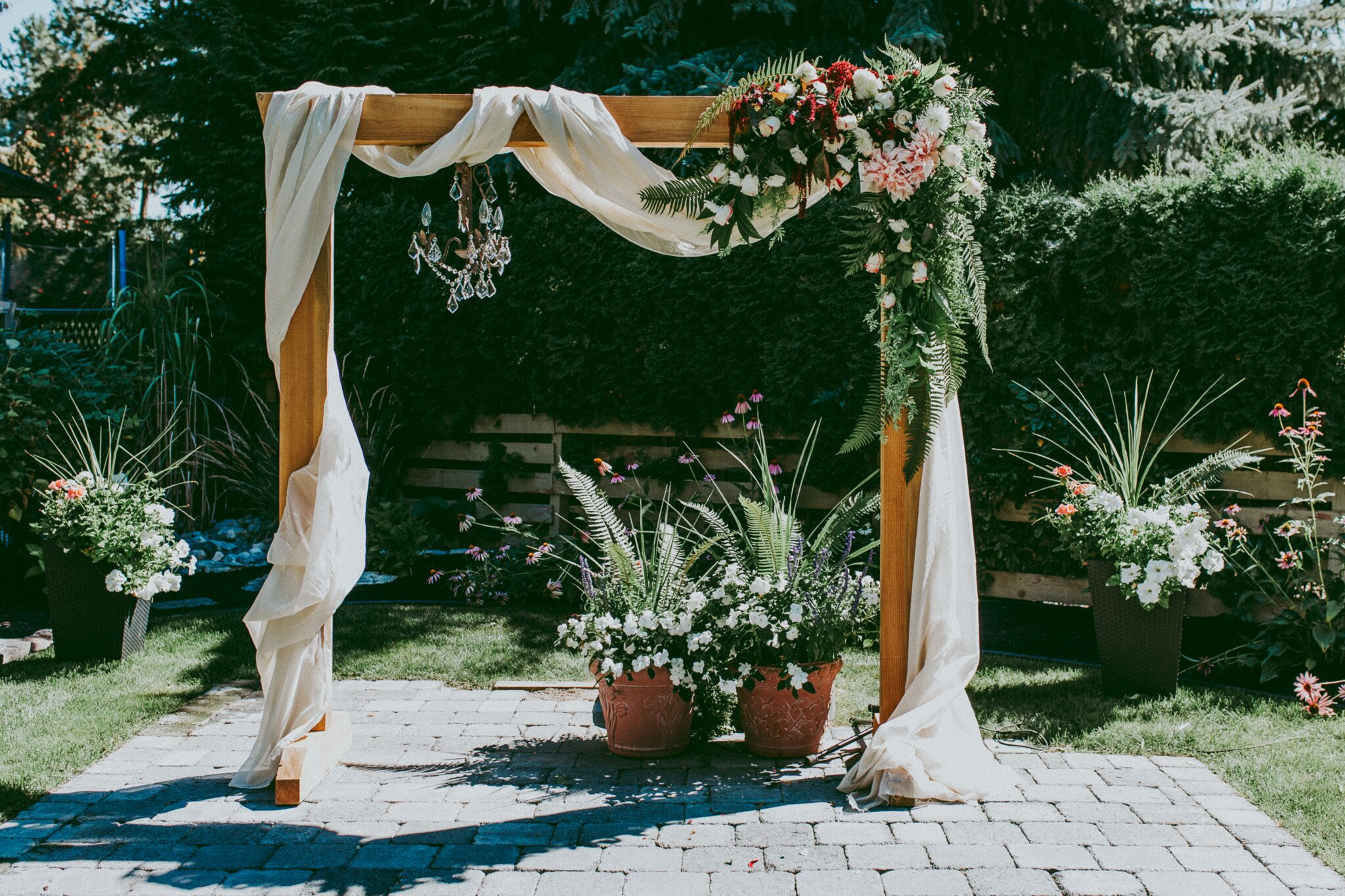 Backup Plans For Your Outdoor Wedding: DIY Wooden Wedding Arch With Flower Garland
