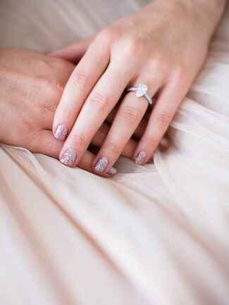 Pink glittery bridal manicure