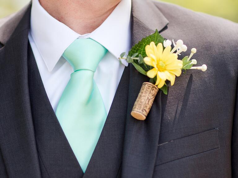 cork worn as boutonnieres