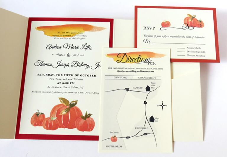 Fall themed wedding invitations with pumpkin illustrations