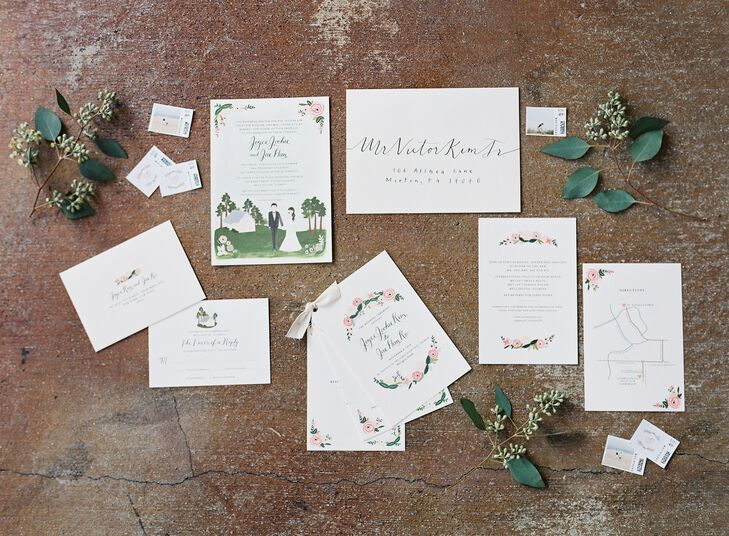 "Stamped with a wax seal, each of the couple's 165 guests received a ""J + J"" labeled invitation suite accented with a custom drawing of the couple and St. David's in the Pines Episcopal Church."