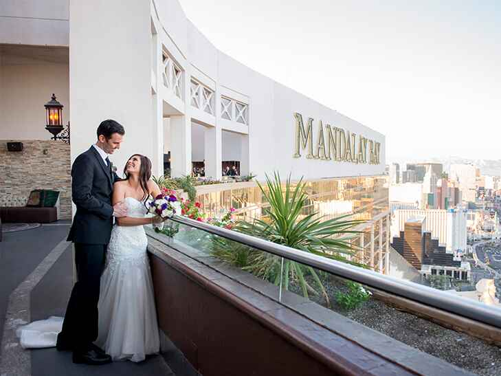 couple at their wedding reception at the mandalay bay in las vegas.