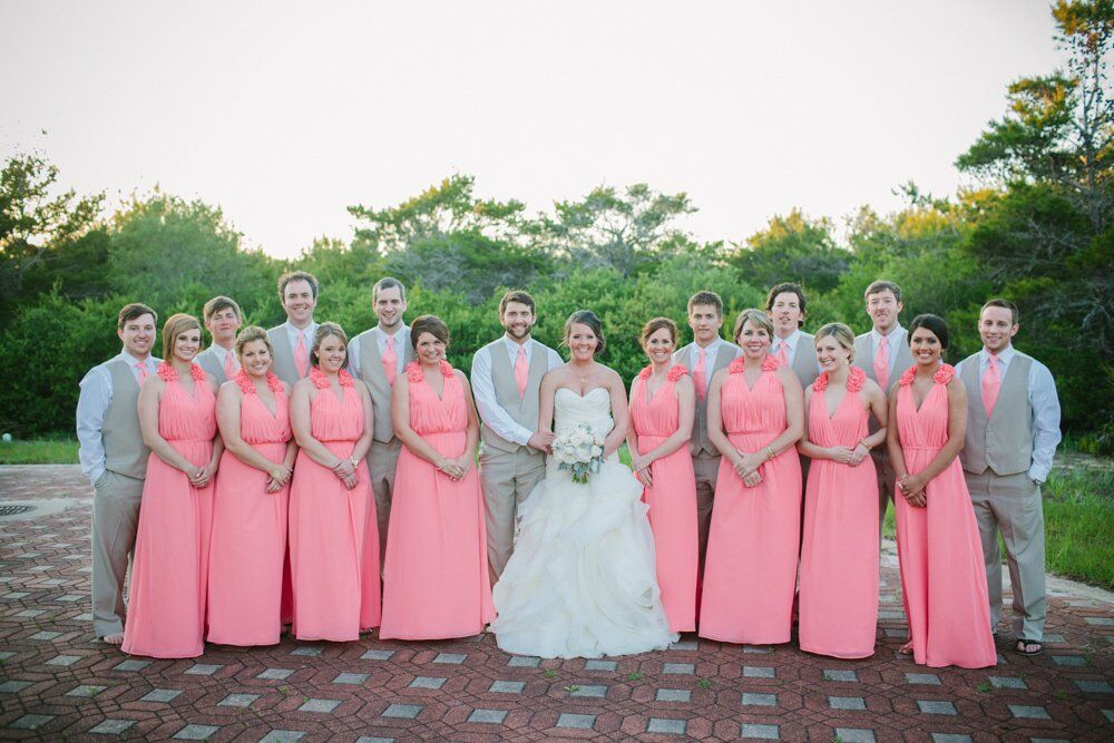 Pink And Gray Wedding Party Attire