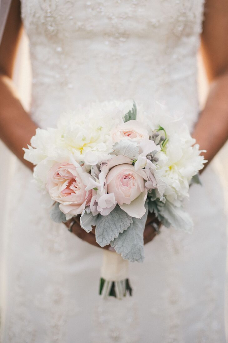 Soft Bouquet With Peonies And Dusty Miller At Summer Wedding